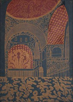 Basilica S.Marco I - Gold on Dark Blue & Purple Red
